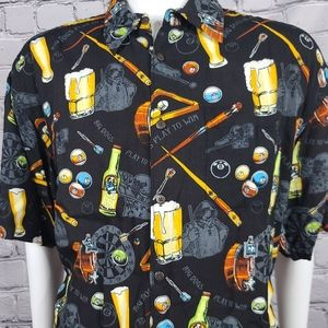 Big Dogs Pool and Beer Button Shirt, XL